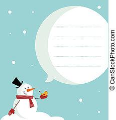 Snow man card - Vector christmas card snowman with a bird
