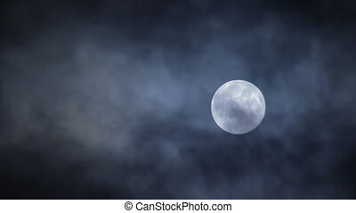 Full moon hiding by the clouds