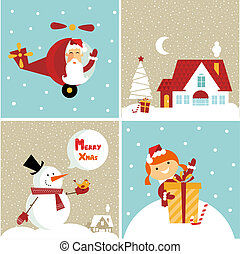 Chrismas card - Vector Chrismas icons: with a girl, santa, a...