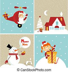 Chrismas card - Vector Chrismas icons: with a girl, santa, a...
