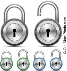 Vector Metallic Padlock - Metallic Padlocks Security Concept...