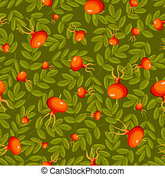Rose hip seamless green pattern. Vector background.
