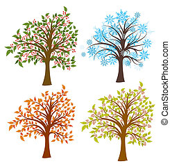 Four seasons trees, vector