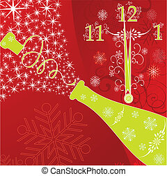 New year's background with clock and sparks of a champagne, vector illustration