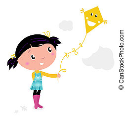 Little cute kid flying kite isolated on white - Autumn girl...