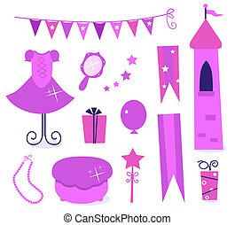 Cute icons for little princess Party isolated on white (...