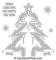 Christmas Tree from circuit board with Digital Snowflake,...