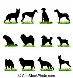 12 Dogs Silhouettes Set
