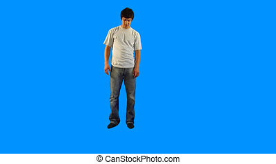 Man - Handsome guy doing slow motions on blue background in...