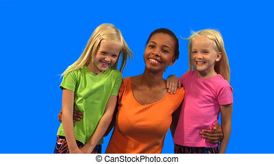 Woman with children - Happy African-American woman and two...