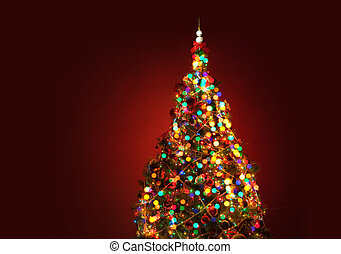 Art Christmas tree on red background