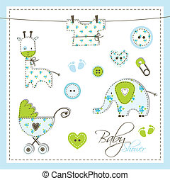 Baby shower design elements - Cute elements for scrapbook,...