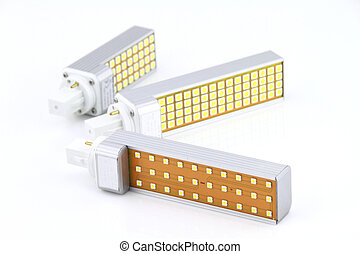 LED light bulbs over white background