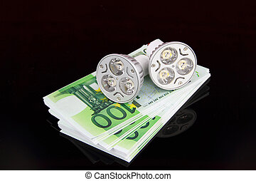 LED light bulbs with money
