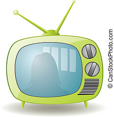 green retro tv set - vector green retro tv set