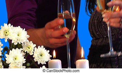 Champagne - Man and a woman taking glasses with champagne