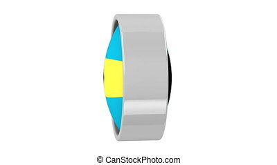 Bahamian flag with circular frame. Part of a series.