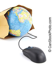 Computer mouse connected to a grocery bag with a world globe...