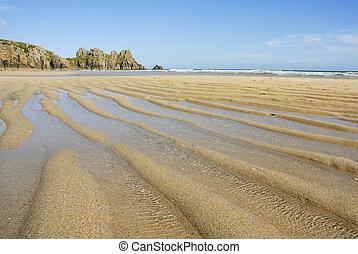 Pedn vounder beach, Cornwall. - Pedn vounder beach, one of...