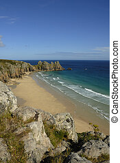 Pedn vounder beach, Cornwall. - Pedn vounder beach, one of...