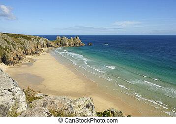 Pedn vounder beach, Cornwall - Pedn vounder beach, one of...