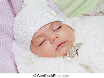 spanie, Nowo narodzony, niemowlę, dziewczyna