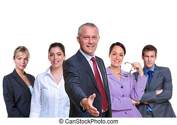 Business team handshake - Photo of a business team, focus on...