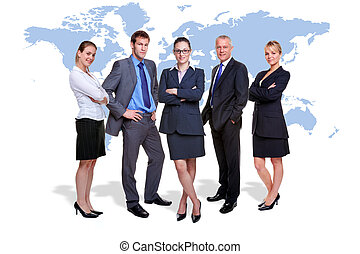 Global business team - Photo of five corporate people on...