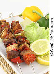 Grilled meat and vegetable skewer