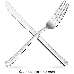Crossed fork and knife Illustration on white background