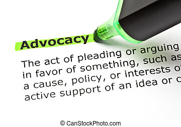 ADVOCACY highlighted in green - The word ADVOCACY...