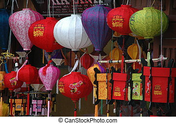 Colored lanterns Vietnam in front of shop in Hoi An