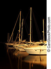 Muchos, Yates, puerto, noche, acostado,  Odessa