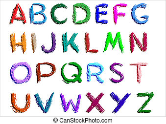 alphabet - Crayon alphabet over white background