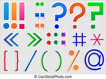Set of punctuation marks and signs, vector