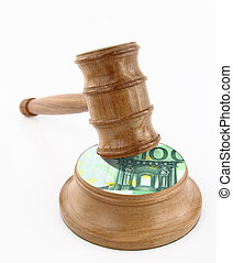Auction gavel with euro design