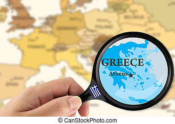 Magnifying glass over a map of Greece