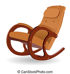 Rocking chair - Wooden rocking chair on a white background