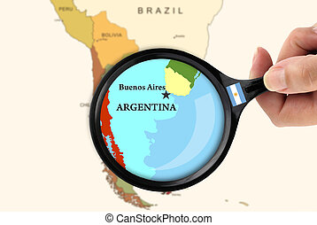 Focus in Argentina - Magnifying glass over a map of...