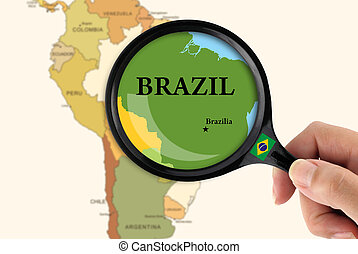 Focus in Brazil - Magnifying glass over a map of Brazil