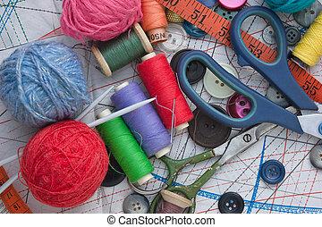 still life of spools of thread