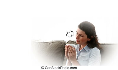 Woman thinking about her son while having a coffee