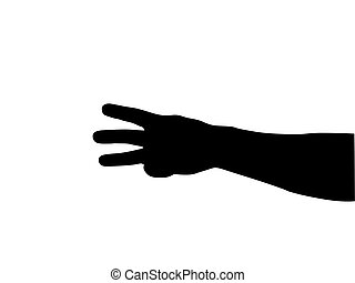 hand counting silhouette on white