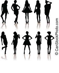 set of various beautiful model girls in dress.