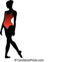 Dance girl ballet silhouettes - vec