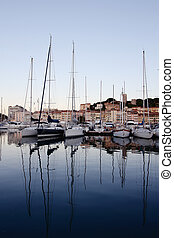 Cannes port on the morning