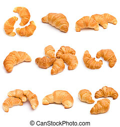 Set of croissants isolated on white background