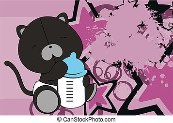 panther baby cartoon background in vector format