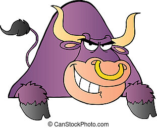 Purple Bull Over A Sign - Tough Purple Bull Grinning Over A...
