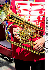 Band member - Band member holding his baritone horn